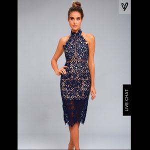 Lulu's Divine Destiny Navy Blue Midi Dress